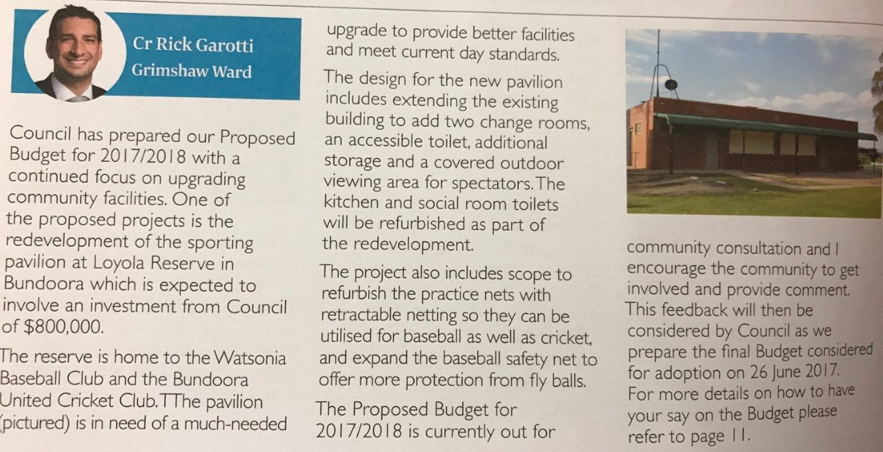 Watsonia Baseball Club Clubrooms Update